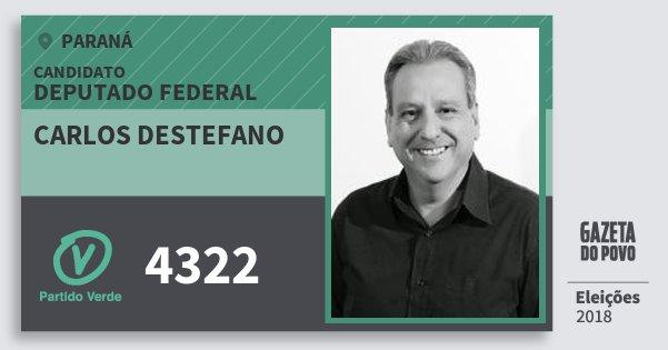 Santinho Carlos Destefano 4322 (PV) Deputado Federal | Paraná | Eleições 2018