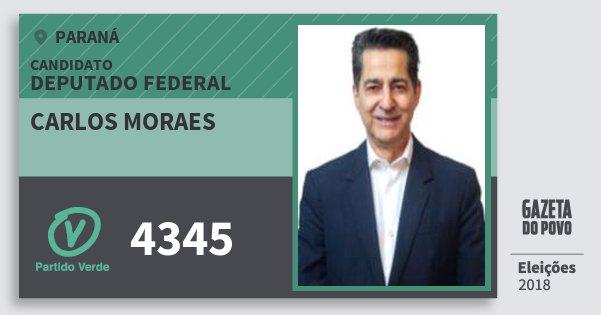 Santinho Carlos Moraes 4345 (PV) Deputado Federal | Paraná | Eleições 2018