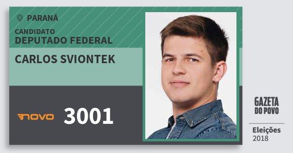 Santinho Carlos Sviontek 3001 (NOVO) Deputado Federal | Paraná | Eleições 2018