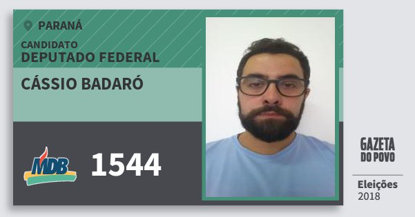 Santinho Cássio Badaró 1544 (MDB) Deputado Federal | Paraná | Eleições 2018