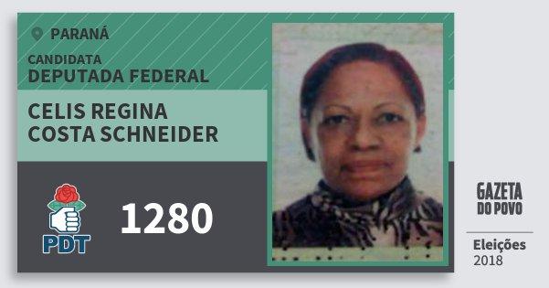 Santinho Celis Regina Costa Schneider 1280 (PDT) Deputada Federal | Paraná | Eleições 2018
