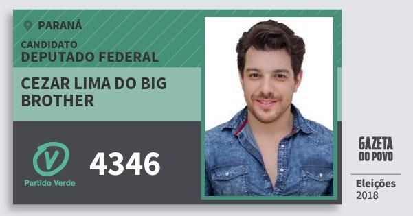 Santinho Cezar Lima do Big Brother 4346 (PV) Deputado Federal | Paraná | Eleições 2018