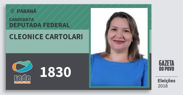 Santinho Cleonice Cartolari 1830 (REDE) Deputada Federal | Paraná | Eleições 2018