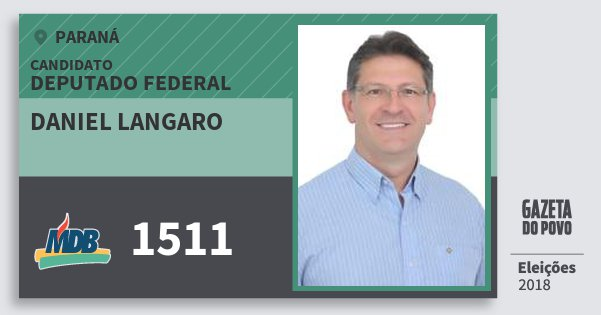 Santinho Daniel Langaro 1511 (MDB) Deputado Federal | Paraná | Eleições 2018