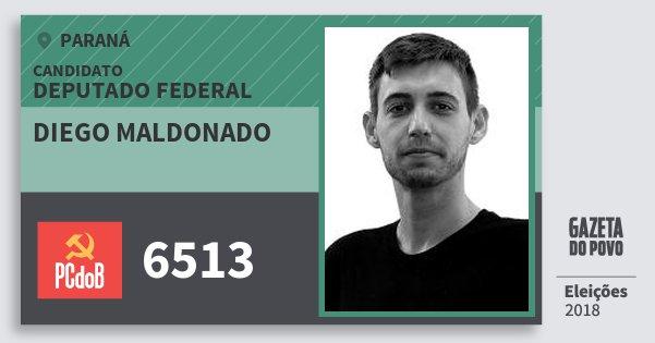 Santinho Diego Maldonado 6513 (PC do B) Deputado Federal | Paraná | Eleições 2018