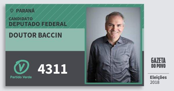 Santinho Doutor Baccin 4311 (PV) Deputado Federal | Paraná | Eleições 2018