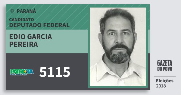 Santinho Edio Garcia Pereira 5115 (PATRI) Deputado Federal | Paraná | Eleições 2018