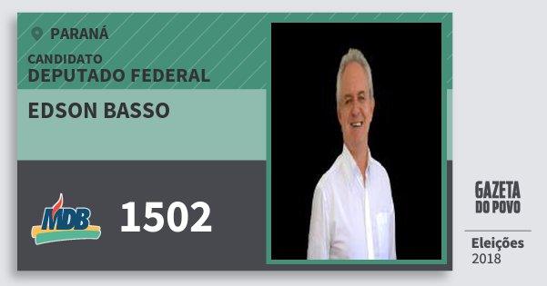 Santinho Edson Basso 1502 (MDB) Deputado Federal | Paraná | Eleições 2018