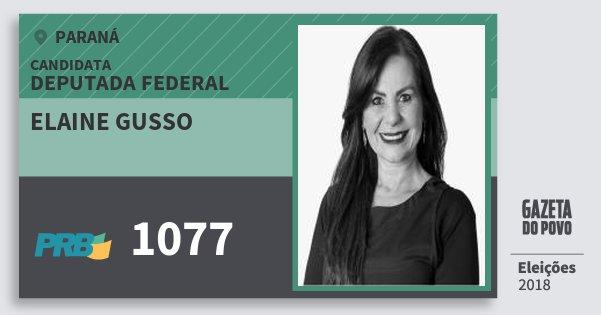 Santinho Elaine Gusso 1077 (PRB) Deputada Federal | Paraná | Eleições 2018