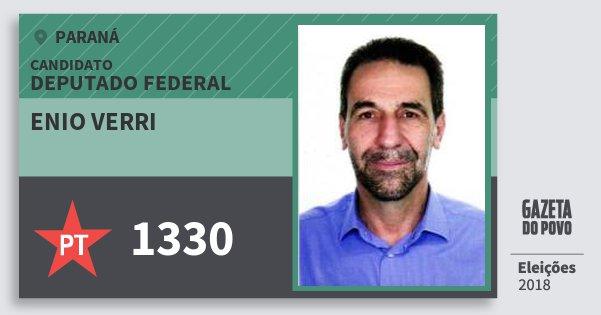 Santinho Enio Verri 1330 (PT) Deputado Federal | Paraná | Eleições 2018