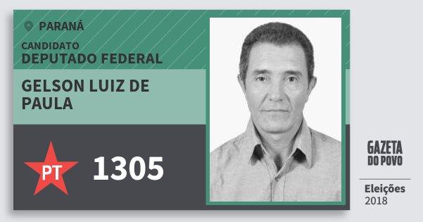 Santinho Gelson Luiz de Paula 1305 (PT) Deputado Federal | Paraná | Eleições 2018