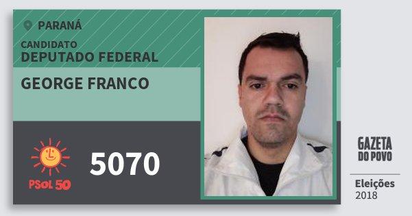 Santinho George Franco 5070 (PSOL) Deputado Federal | Paraná | Eleições 2018