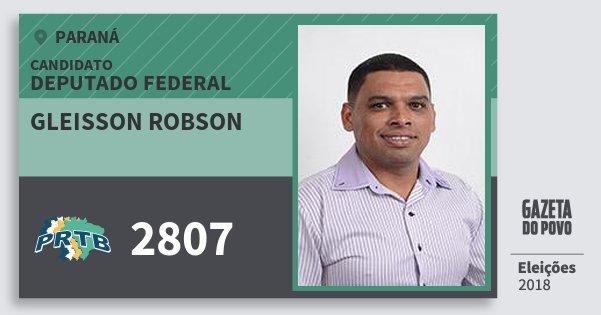 Santinho Gleisson Robson 2807 (PRTB) Deputado Federal | Paraná | Eleições 2018