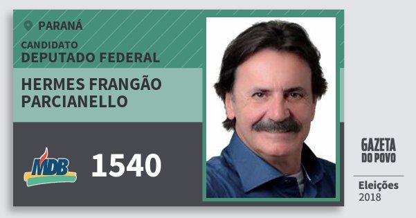 Santinho Hermes Frangão Parcianello 1540 (MDB) Deputado Federal | Paraná | Eleições 2018
