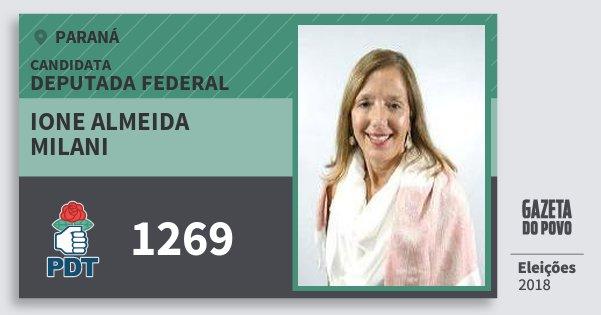 Santinho Ione Almeida Milani 1269 (PDT) Deputada Federal | Paraná | Eleições 2018