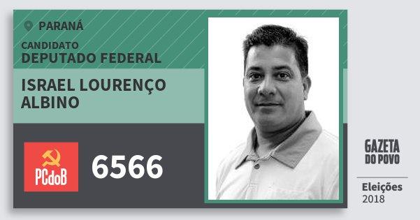 Santinho Israel Lourenço Albino 6566 (PC do B) Deputado Federal | Paraná | Eleições 2018