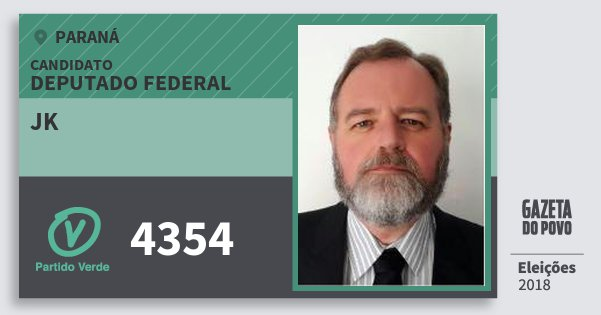 Santinho Jk 4354 (PV) Deputado Federal | Paraná | Eleições 2018