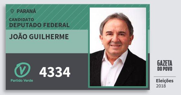 Santinho João Guilherme 4334 (PV) Deputado Federal | Paraná | Eleições 2018