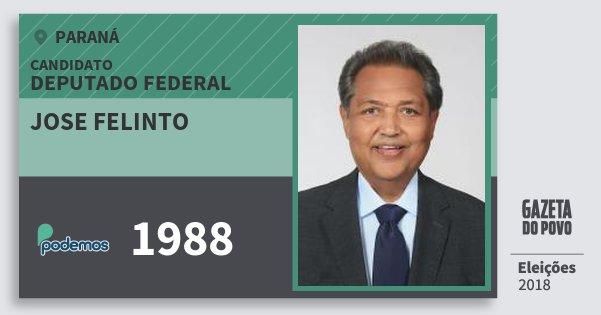 Santinho Jose Felinto 1988 (PODE) Deputado Federal | Paraná | Eleições 2018