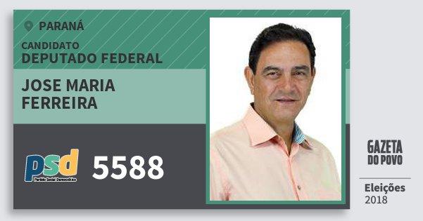 Santinho Jose Maria Ferreira 5588 (PSD) Deputado Federal | Paraná | Eleições 2018