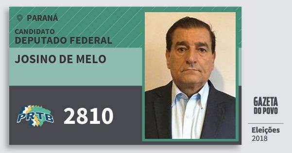 Santinho Josino de Melo 2810 (PRTB) Deputado Federal   Paraná   Eleições 2018