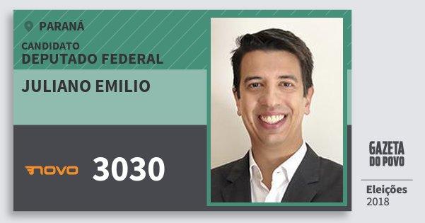 Santinho Juliano Emilio 3030 (NOVO) Deputado Federal | Paraná | Eleições 2018