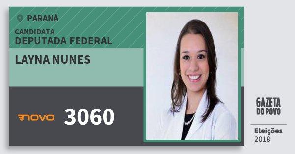 Santinho Layna Nunes 3060 (NOVO) Deputada Federal | Paraná | Eleições 2018