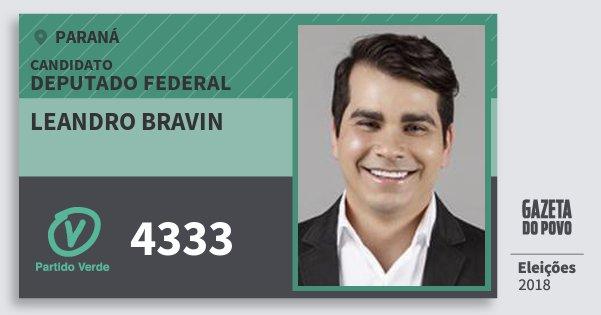 Santinho Leandro Bravin 4333 (PV) Deputado Federal | Paraná | Eleições 2018