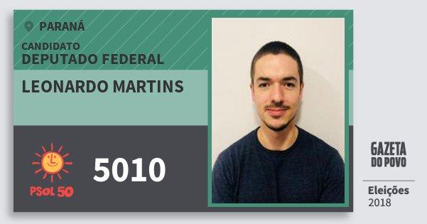 Santinho Leonardo Martins 5010 (PSOL) Deputado Federal | Paraná | Eleições 2018