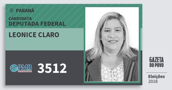 Santinho Leonice Claro 3512 (PMB) Deputada Federal | Paraná | Eleições 2018