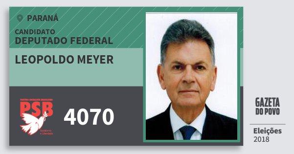 Santinho Leopoldo Meyer 4070 (PSB) Deputado Federal | Paraná | Eleições 2018