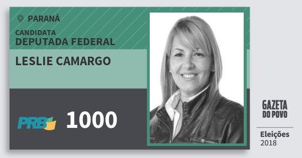 Santinho Leslie Camargo 1000 (PRB) Deputada Federal | Paraná | Eleições 2018