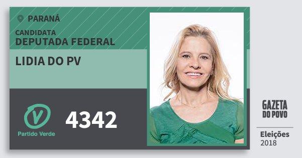Santinho Lidia do Pv 4342 (PV) Deputada Federal | Paraná | Eleições 2018