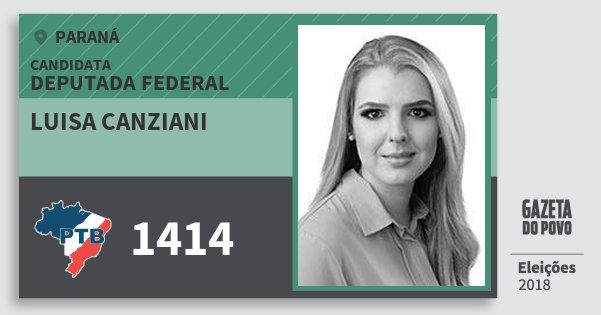 Santinho Luisa Canziani 1414 (PTB) Deputada Federal   Paraná   Eleições 2018