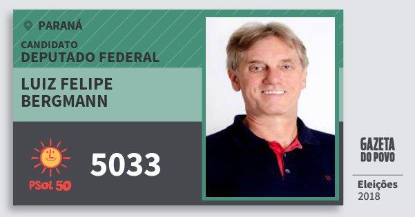 Santinho Luiz Felipe Bergmann 5033 (PSOL) Deputado Federal | Paraná | Eleições 2018
