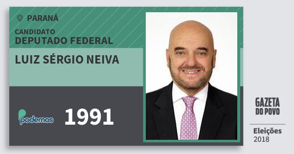 Santinho Luiz Sérgio Neiva 1991 (PODE) Deputado Federal | Paraná | Eleições 2018
