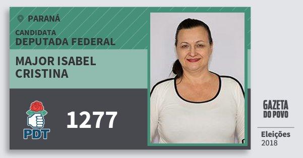 Santinho Major Isabel Cristina 1277 (PDT) Deputada Federal | Paraná | Eleições 2018