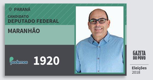 Santinho Maranhão 1920 (PODE) Deputado Federal | Paraná | Eleições 2018