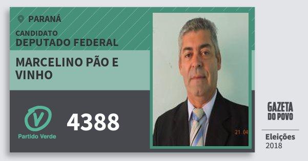 Santinho Marcelino Pão e Vinho 4388 (PV) Deputado Federal | Paraná | Eleições 2018