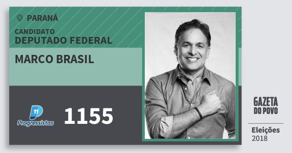 Santinho Marco Brasil 1155 (PP) Deputado Federal | Paraná | Eleições 2018