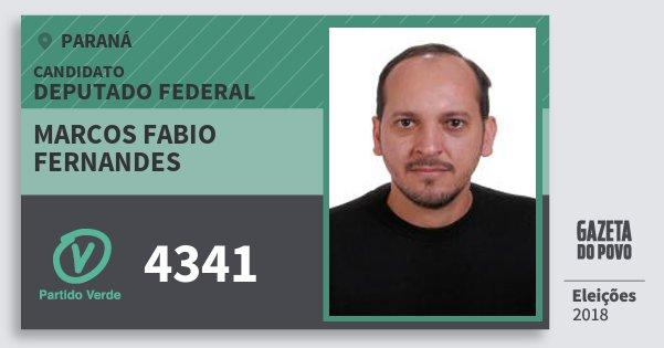 Santinho Marcos Fabio Fernandes 4341 (PV) Deputado Federal | Paraná | Eleições 2018