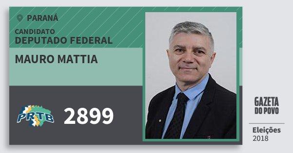 Santinho Mauro Mattia 2899 (PRTB) Deputado Federal | Paraná | Eleições 2018