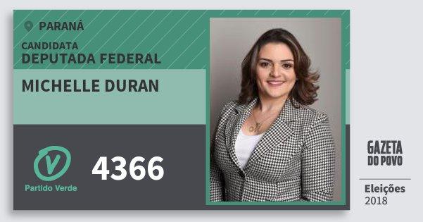 Santinho Michelle Duran 4366 (PV) Deputada Federal | Paraná | Eleições 2018