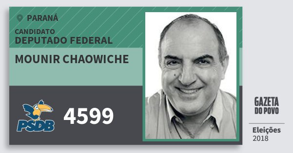 Santinho Mounir Chaowiche 4599 (PSDB) Deputado Federal | Paraná | Eleições 2018