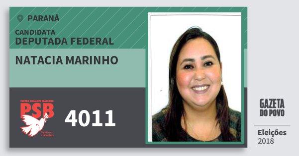 Santinho Natacia Marinho 4011 (PSB) Deputada Federal | Paraná | Eleições 2018