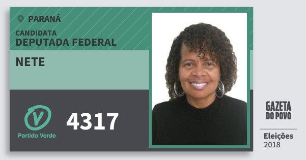 Santinho Nete 4317 (PV) Deputada Federal | Paraná | Eleições 2018