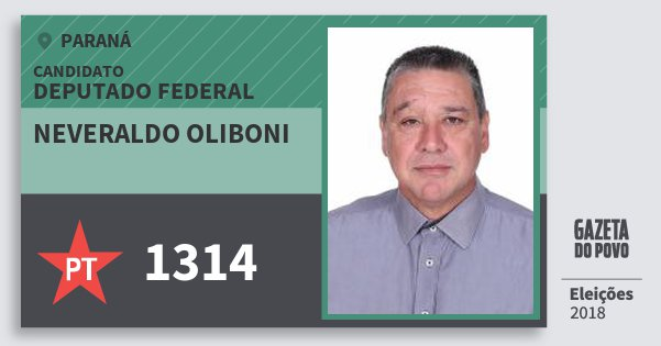 Santinho Neveraldo Oliboni 1314 (PT) Deputado Federal | Paraná | Eleições 2018