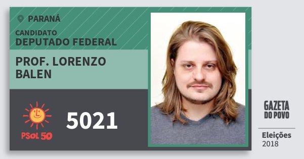Santinho Prof. Lorenzo Balen 5021 (PSOL) Deputado Federal | Paraná | Eleições 2018
