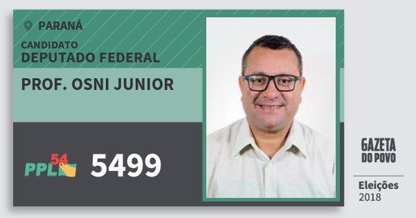 Santinho Prof. Osni Junior 5499 (PPL) Deputado Federal | Paraná | Eleições 2018