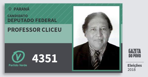 Santinho Professor Cliceu 4351 (PV) Deputado Federal | Paraná | Eleições 2018